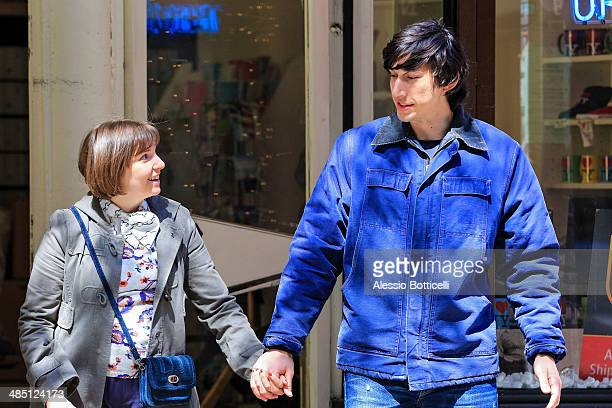Lena Dunham and Adam Driver are seen filming romantic scene for 'Girls' on April 16 2014 in New York City