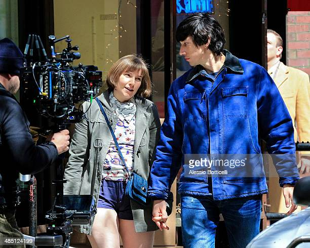 Lena Dunham and Adam Driver are seen filming romantic scene for 'Girls' on April 16, 2014 in New York City.