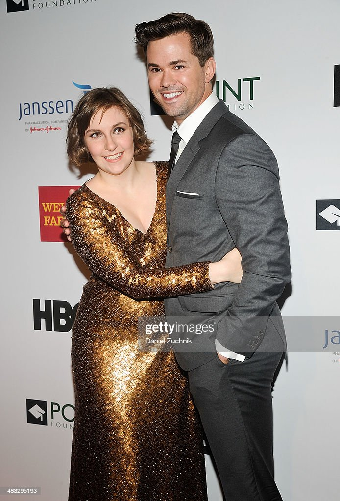 Lena Dunham and Andrew Rannells attend the 2014 Point Honors New York gala at New York Public Library on April 7, 2014 in New York City.