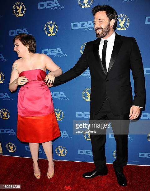 Lena Dunham and Ben Affleck attend the 65th annual Directors Guild Of America Awards at The Ray Dolby Ballroom at Hollywood Highland Center on...