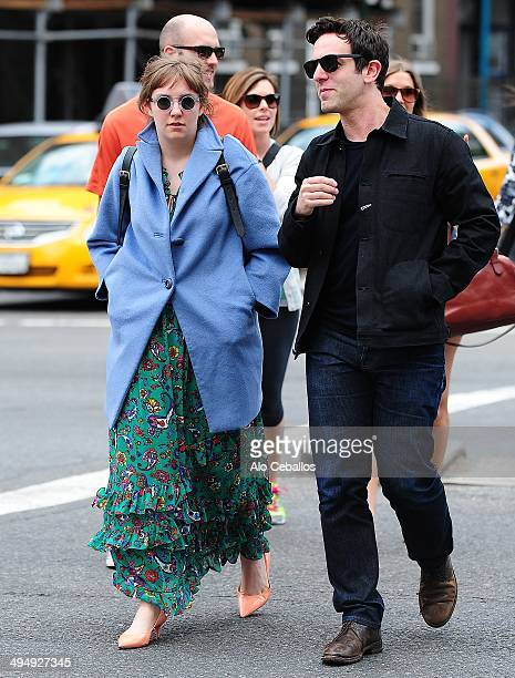Lena Dunham and BJ Novak seen in the East Village on May 31 2014 in New York City