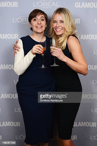 Lena Dunham and Chelsea Handler pose backstage at the 22nd annual Glamour Women of the Year Awards at Carnegie Hall on November 12 2012 in New York...
