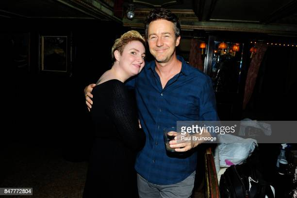 Lena Dunham and Edward Norton attend the Party for the 2nd Anniversary of Lenny at The Jane Hotel on September 15 2017 in New York City