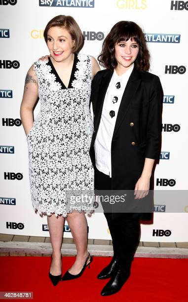 Lena Dunham and Felicity Jones attend the UK premiere of 'Girls Season 3' at Cineworld Haymarket on January 15 2014 in London England