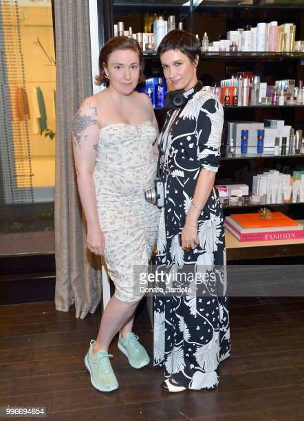 Lena Dunham and Founder of VIOLET GREY Cassandra Grey attend Beats by Dre for VIOLET GREY Party on July 11 2018 in Los Angeles California