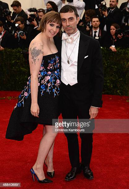 Lena Dunham and Giambattista Valli attend the 'Charles James Beyond Fashion' Costume Institute Gala at the Metropolitan Museum of Art on May 5 2014...