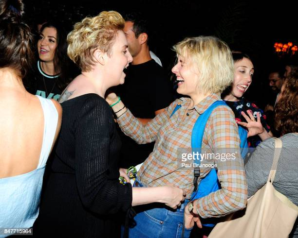 Lena Dunham and Greta Gerwig attend the Party for the 2nd Anniversary of Lenny at The Jane Hotel on September 15 2017 in New York City
