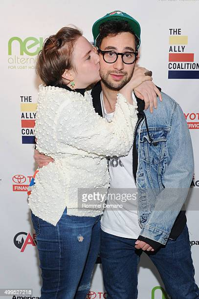 Lena Dunham and Jack Antonoff attend The Ally Coalition & Above Average's 2015 Talent Show at New World Stages on December 1, 2015 in New York City.