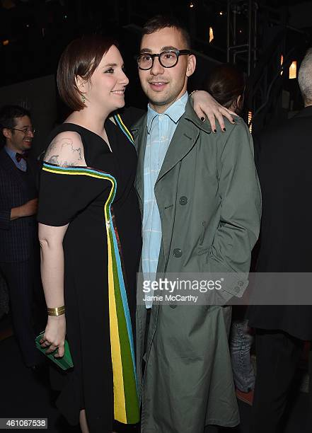 Lena Dunham and Jack Antonoff attend the 'Girls' season four series premiere after party at The Museum of Natural History on January 5 2015 in New...