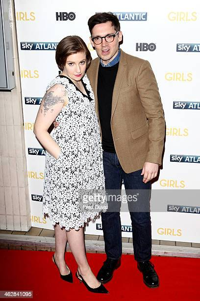 Lena Dunham and Jack Antonoff attend the UK premiere of 'Girls Season 3' at Cineworld Haymarket on January 15 2014 in London England
