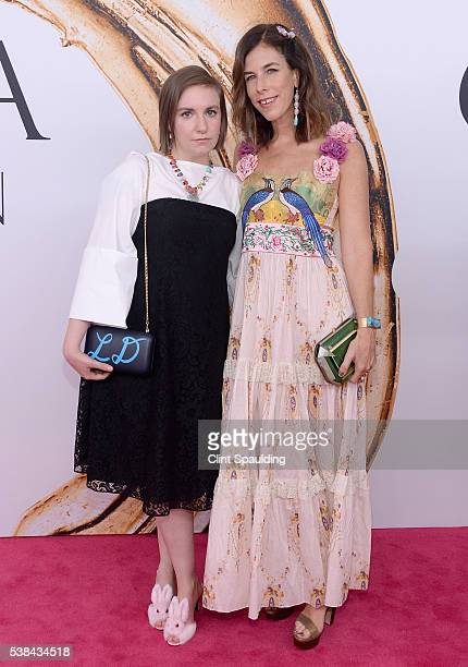 Lena Dunham and jewelry designer Irene Neuwirth attend the 2016 CFDA Fashion Awards at the Hammerstein Ballroom on June 6 2016 in New York City