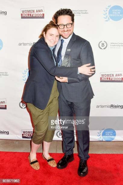 Lena Dunham and JJ Abrams attends the 2018 Athena Film Festival Awards Ceremony at The Diana Center At Barnard College on February 23 2018 in New...
