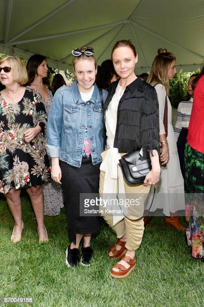 Lena Dunham and Stella McCartney attend the annual H.E.A.R.T. Brunch featuring Stella McCartney on April 18, 2017 in Los Angeles, California.
