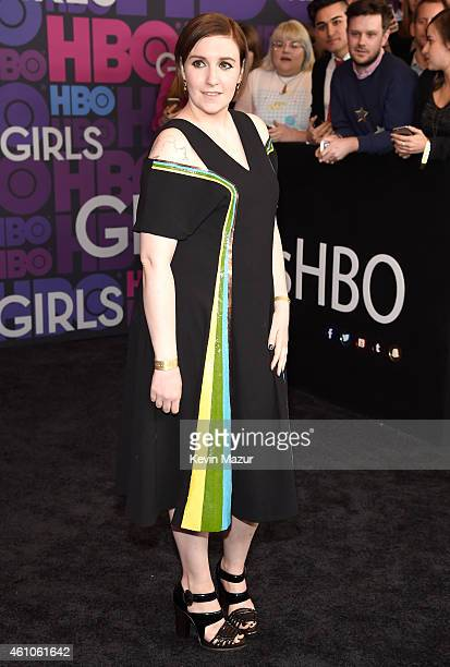 """Lena Dunham attends the """"Girls"""" season four premiere at American Museum of Natural History on January 5, 2015 in New York City."""