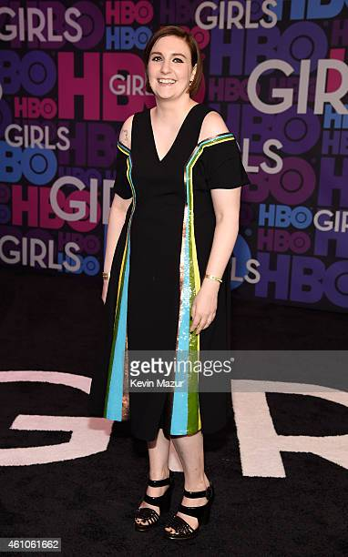 Lena Dunham attends the Girls season four premiere at American Museum of Natural History on January 5 2015 in New York City