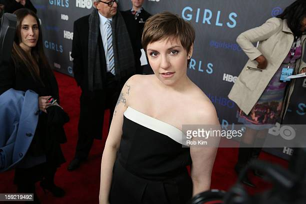 Lena Dunham attends the HBO 'Girls' season 2 premiere at the NYU Skirball Center on January 9 2013 in New York City