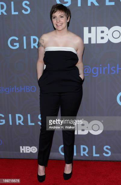 Lena Dunham attends the premiere of 'Girls' season 2 hosted by HBO at NYU Skirball Center on January 9 2013 in New York City