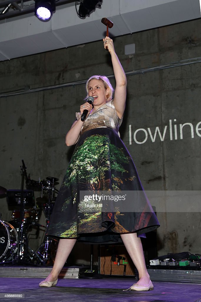 Lena Dunham auctions off her Rachel Antonoff dress at the 2014 The Lowline Anti-Gala Benefit Dinner at Skylight Modern on October 8, 2014 in New York City.