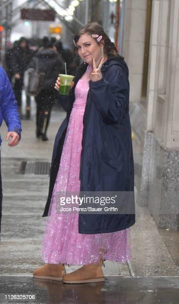 Lena Dunham is seen on February 20, 2019 in New York City.