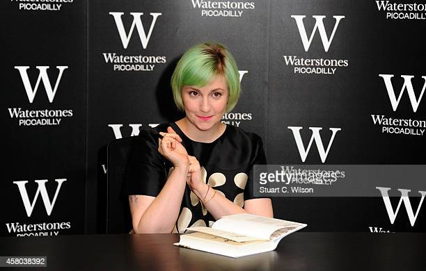 Lena Dunham meets fans and signs copies of her book 'Not That Kind Of Girl' at Waterstones Piccadilly on October 29 2014 in London England