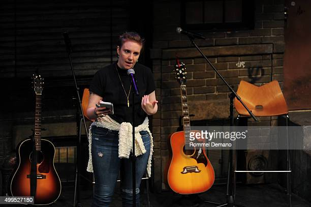 Lena Dunham performs at The Ally Coalition Above Average's 2015 Talent Show at New World Stages on December 1 2015 in New York City