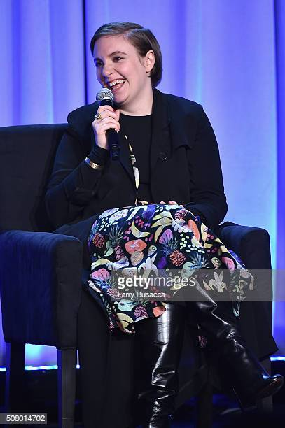 Lena Dunham speaks onstage at the American Magazine Media Conference at Grand Hyatt New York on February 2 2016 in New York City