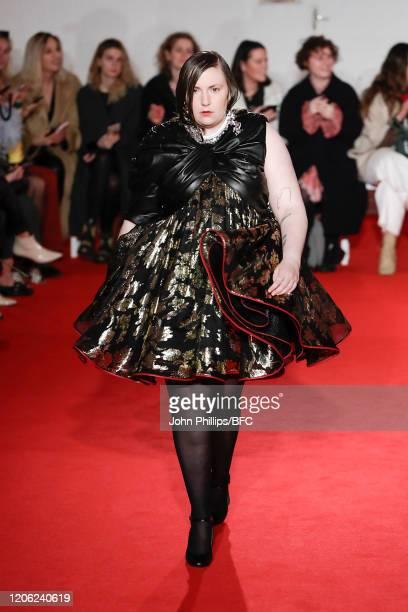 Lena Dunham walks the runway at the 16Arlington show during London Fashion Week February 2020 on February 14, 2020 in London, England.