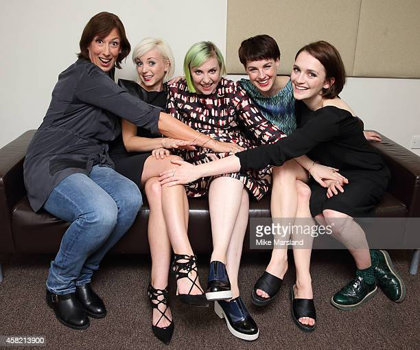 Lena Dunham with former BBC Call the Midwife star Jessica Raine and current Call the Midwife cast members Miranda Hart Helen George and Charlotte...