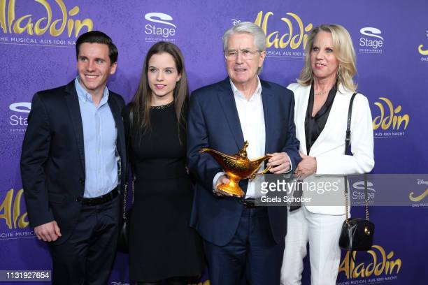 Lena Elstner and her boyfriend Florian Gerstner father Frank Elstner and his wife Britta during the premiere of the musical Aladdin at Stage Apollo...