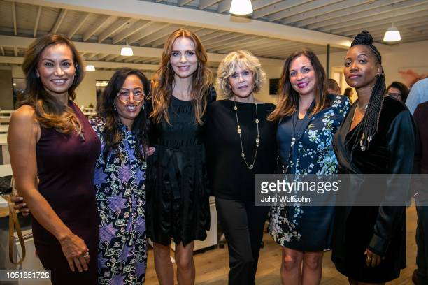 Lena Evans Grace Kahng Saffron Burrows Jane Fonda Amy Nelson and Erica Alexander attend benefit in support of workers' rights The Riveter cohosts a...