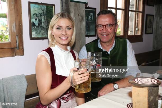 Lena Gercke and Maximilian Schoeberl BMW Group Director Corporate Affairs during the 'BMW Wies'n SportStammtisch' as part of the Oktoberfest at...