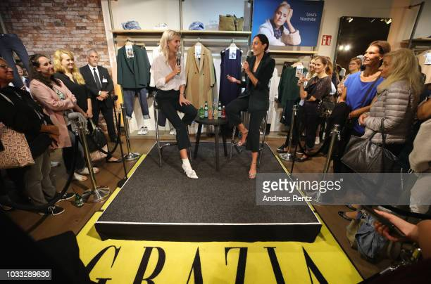 Lena Gercke and Miriam Amro speak during the Style talk at the #LenaForEsprit Collection Launch Grazia x Esprit on September 14 2018 in Duesseldorf...