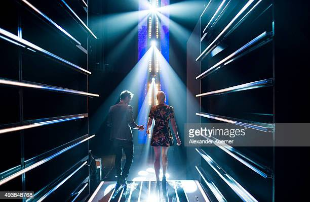 Lena Gercke and Thore Schoelermann are seen during rehearsals for the television talent show 'The Voice of Germany' on September 29 2015 in Berlin...