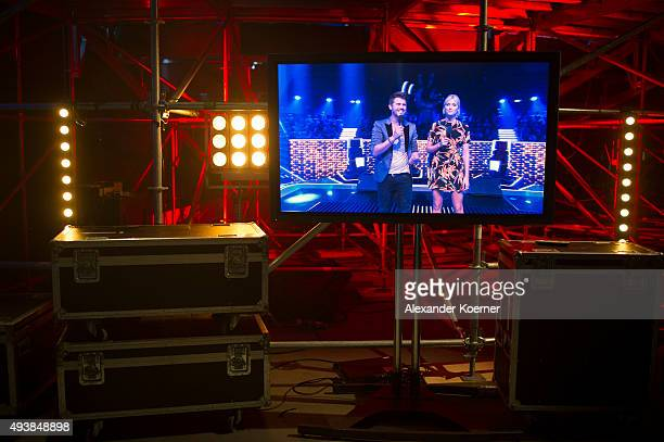 Lena Gercke and Thore Schoelermann are seen on a screen during rehearsals for the television talent show 'The Voice of Germany' on September 29 2015...
