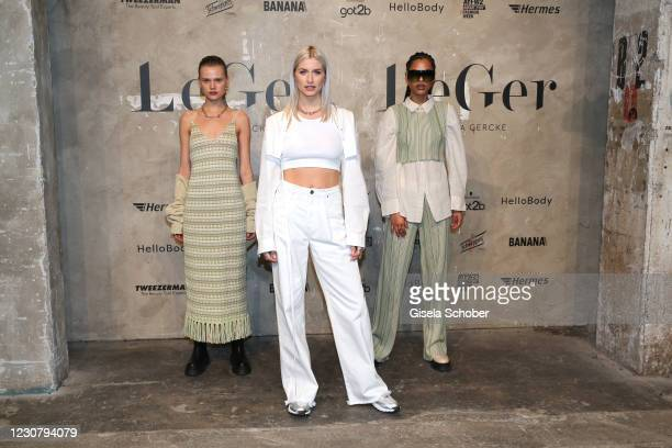 Lena Gercke attends the About You Fashion Week, AYFW, LeGer by LenaGercke show production at Kraftwerk on January 24, 2021 in Berlin, Germany.