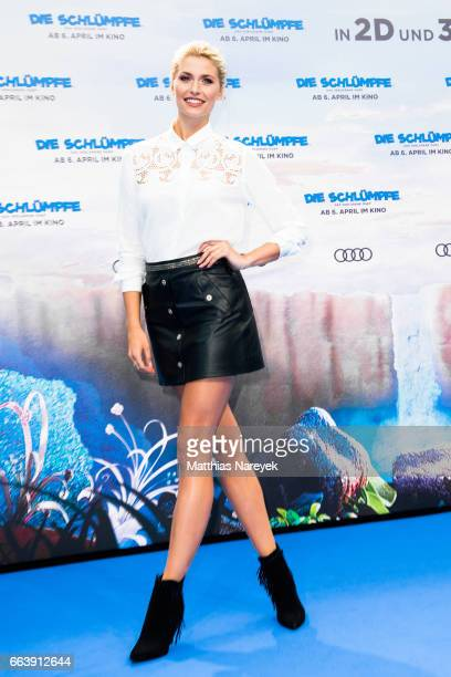 Lena Gercke attends the 'Die Schluempfe Das verlorene Dorf' Berlin Premiere at Sony Centre on April 2 2017 in Berlin Germany
