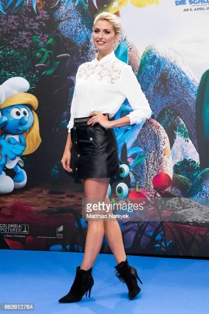 Lena Gercke attends the 'Die Schluempfe Das verlorene Dorf' Berlin Premiere at Sony Centre on April 2 2017 in Berlin Germany