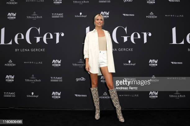 Lena Gercke attends the LeGer by Lena Gercke fashion show during the AYFW - About You Fashion Week at ewerk on July 07, 2019 in Berlin, Germany.