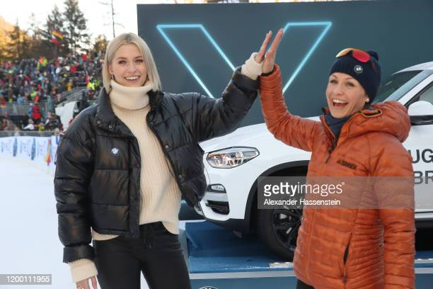 Lena Gercke attends with Magdalena Neuner the Women 4x6 km Relay Competition at the BMW IBU World Cup Biathlon Ruhpolding on January 17, 2020 in...