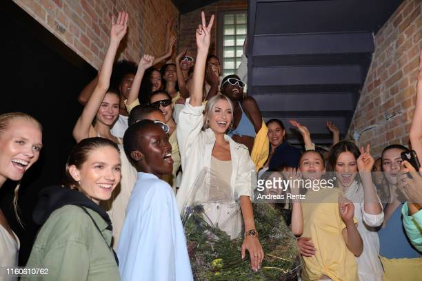 Lena Gercke celebrates with models after the LeGer by Lena Gercke fashion show during the AYFW - About You Fashion Week at ewerk on July 07, 2019 in...