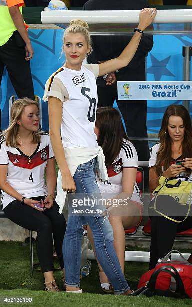 Lena Gercke girlfriend of Sami Khedira looks on after the 2014 FIFA World Cup Brazil Final match between Germany and Argentina at Estadio Maracana on...