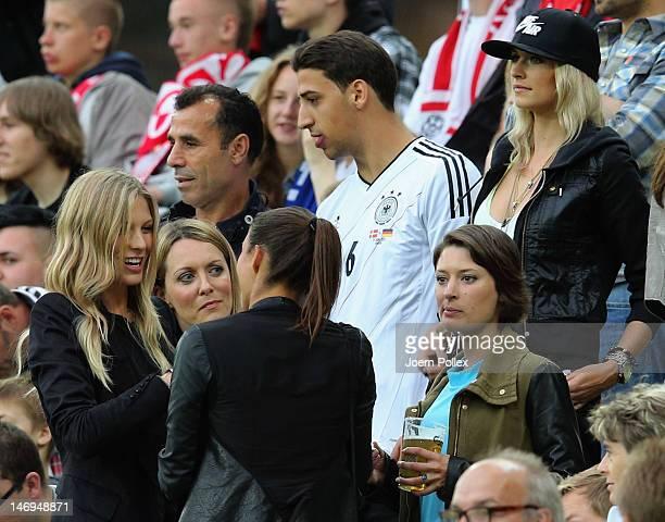 Lena Gercke girlfriend of Sami Khedira of Germany his brother Rani Khedira their father Lazhar Khedira Kathrin Gilch girlfriend of Manuel Neuer and...