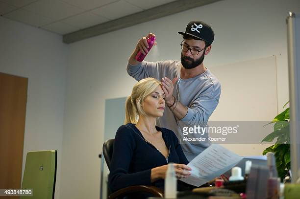 Lena Gercke is seen backstage ahead of rehearsals for the television talent show 'The Voice of Germany' on September 29 2015 in Berlin Germany The...