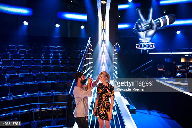Lena Gercke is seen during rehearsals for the television talent show 'The Voice of Germany' on September 29 2015 in Berlin Germany The new season...
