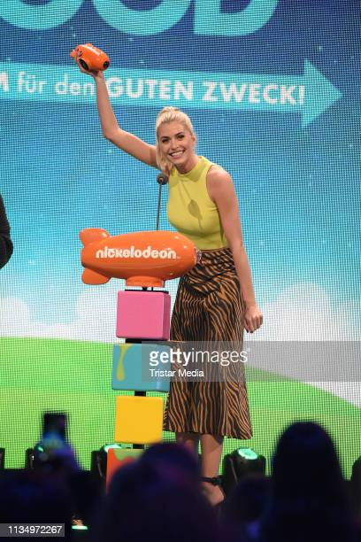 Lena Gercke is seen on stage at the Nickelodeon Kids Choice Awards on April 4 2019 in Rust Germany