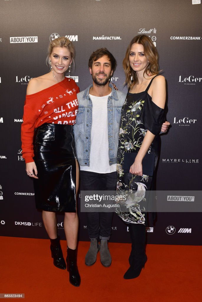 Lena Gercke, Max Giesinger and Eva Padberg attend the Christmas Dinner Party of Lena Gercke at the Bar Hygge on November 30, 2017 in Hamburg, Germany.
