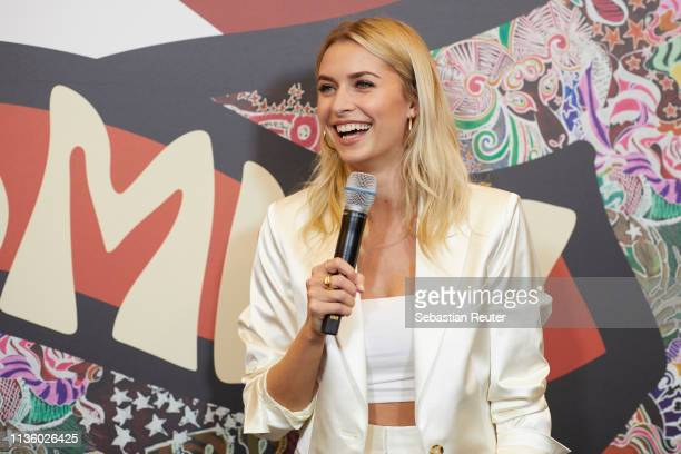 Lena Gercke speaks at the 'TommyxZendaya' meet greet event at KaDeWe on March 15 2019 in Berlin Germany