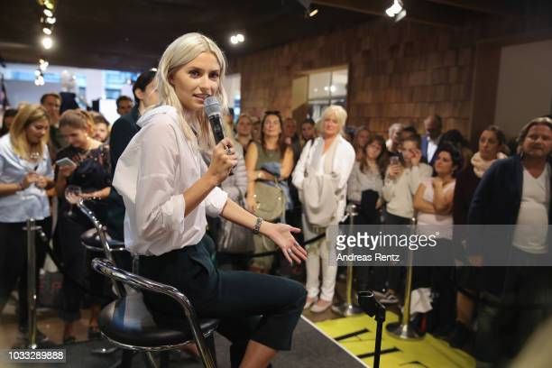 Lena Gercke speaks during the Style talk at the #LenaForEsprit Collection Launch Grazia x Esprit on September 14 2018 in Duesseldorf Germany