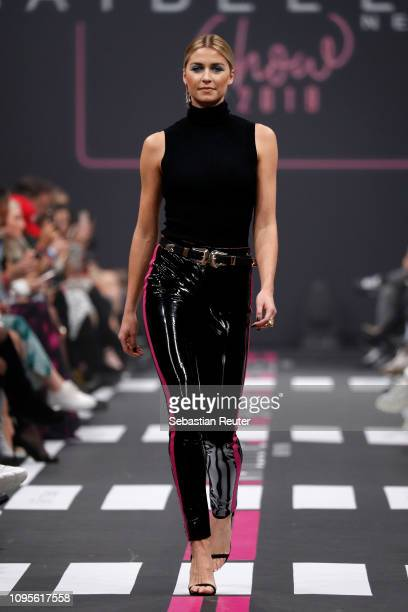 Lena Gercke walks the runway at the Maybelline New York show 'Makeup that makes it in New York' during the Berlin Fashion Week Autumn/Winter 2019 at...
