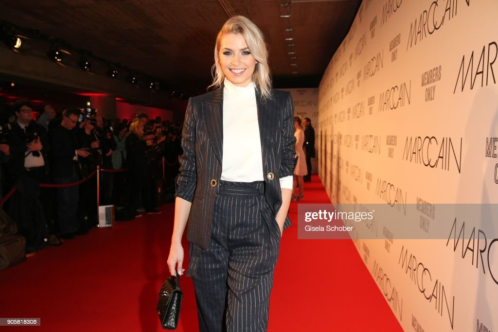 Lena Gercke Wearing A Black Suit By Marc Cain During The